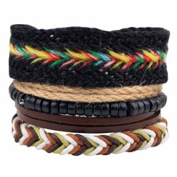 Fako Bijoux® - Armband - Leder - Set Vintage - Regenboog