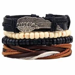 Fako Bijoux® - Armband - Leder - Set Vintage - Vleugel
