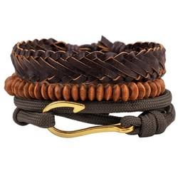 Fako Bijoux® - Armband - Leder - Set Vintage - Haak