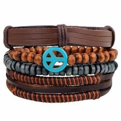 Fako Bijoux® - Armband - Leder - Set Vintage - Peace