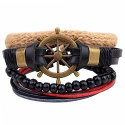 Fako Bijoux® - Armband - Leder - Set Vintage - Stuurwiel
