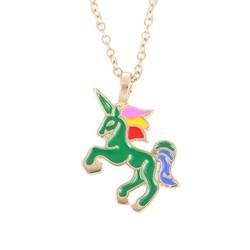 Fako Bijoux® - Ketting - Eenhoorn Regenboog Groen - Goudkleurig