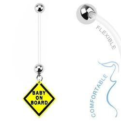 Fako Bijoux® - Zwangerschapspiercing - Baby on Board - Geel