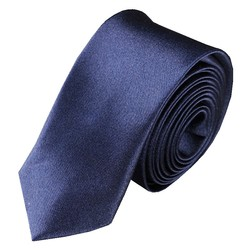 Fako Fashion® - Skinny Stropdas - Effen - 145cm - Navy Blauw
