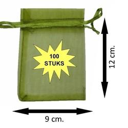 Fako Bijoux® - Organza Zakjes - 9x12cm - Olijfgroen - 100 Stuks