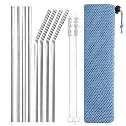 Fako Bijoux® - RVS Rietjes Set -  8 Herbruikbare Rietjes - 4 Recht en 4 Gebogen - 21 cm - Duurzaam en Stijlvol - Incl 2 Schoonmaakborstels en Mesh Zakje - Blauw