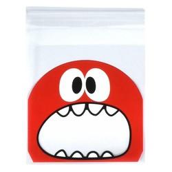 Fako Bijoux® - 100x Uitdeelzakjes - Cellofaan Plastic Traktatie Kado Zakjes - Snoepzakjes - Monster - 10x10cm - Rood