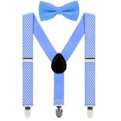 Fako Fashion® - Kinder Bretels Met Vlinderstrik - Stipjes - 65cm - Lichtblauw