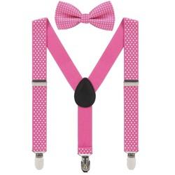 Fako Fashion® - Kinder Bretels Met Vlinderstrik - Stipjes - 65cm - Donkerroze
