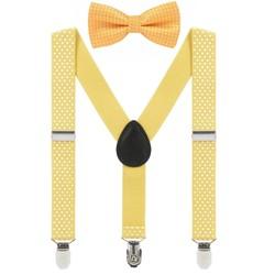 Fako Fashion® - Kinder Bretels Met Vlinderstrik - Stipjes - 65cm - Geel