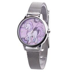 Fako® - Kinderhorloge - Eenhoorn - Unicorn - Mesh - Zilverkleurig