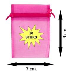 Fako Bijoux® - Organza Zakjes - 7x9cm - Fuchsia - 20 Stuks