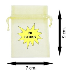 Fako Bijoux® - Organza Zakjes - 7x9cm - Crème - 20 Stuks