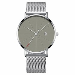 Fako® - Horloge - Mesh - Chicago - Ø40mm - Zilver/Grijs
