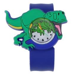 Fako® - Kinderhorloge - Slap On Mini - Dinosaurus - Blauw/Groen