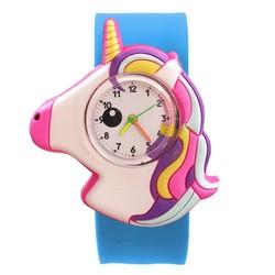 Fako® - Kinderhorloge - Slap On Mini - Eenhoorn - Unicorn - Regenboog - Lichtblauw