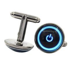 Fako Bijoux® - Manchetknopen - Stand-by - Aan/Uit - 18mm - Blauw - Grijs