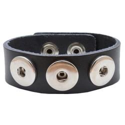 Fako Bijoux® - Armband Voor Click Buttons - Leder Trio - Zwart