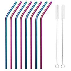 Fako Bijoux® - RVS Rietjes - 8 Stuks - Gebogen - 21 cm - 2 Schoonmaakborsteltjes - Regenboog
