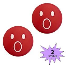 Fako Bijoux® - Tennisdemper - Emoji - Verbaasd Rood - 2 Stuks