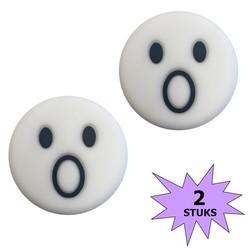 Fako Bijoux® - Tennisdemper - Emoji - Verbaasd Wit - 2 Stuks