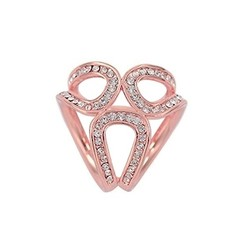 Fako Bijoux® - Sjaalklem - Kristal - Mini - 22x22mm - Rosé Goudkleurig