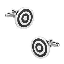 Fako Bijoux® - Manchetknopen - Rond - Cirkels - Zwart - Ø 17mm - Zilverkleurig