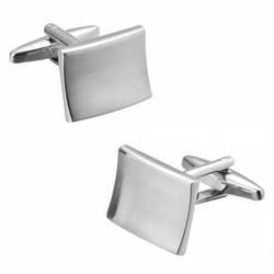 Fako Bijoux® - Manchetknopen - Rechthoek - Gebogen - 18x14mm - Poli/Mat - Zilverkleurig
