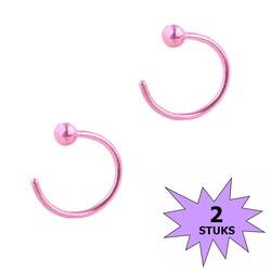 Fako Bijoux® - Neuspiercing - Open Ring Bal - 8mm - Roze - 2 Stuks
