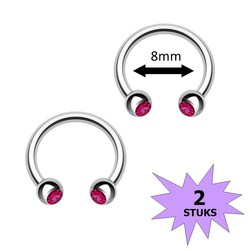 Fako Bijoux® - Circular Barbell Piercing - Hoefijzer Kristal Duo - 8mm - Fuchsia - 2 Stuks