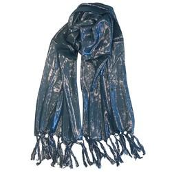 Fako Fashion® - Glitter Sjaal - Lichte Shawl - 175x50cm - Blauw