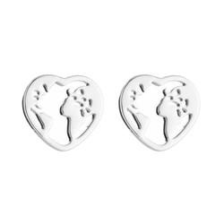 Fako Bijoux® - Oorbellen - Steker - RVS - Stainless Steel - Wereldkaart Hart - Zilverkleurig