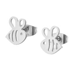 Fako Bijoux® - Oorbellen - Steker - RVS - Stainless Steel - Bijtje - Zilverkleurig