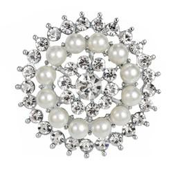 Fako Bijoux® - Broche - Parel Kristal Merel - 35x35mm - Zilverkleurig