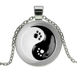 Fako Bijoux® - Ketting - Cabochon - Yin Yang - Pootjes Ring
