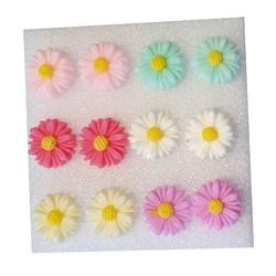 Fako Bijoux® - Oorbellen - Zonnebloemen - Acryl - Pastel - Set - 6 Paar
