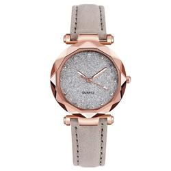 Fako® - Horloge - Stars - PU Suède - Ø 34mm - Grijs