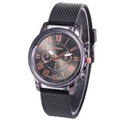 Fako® - Horloge - Geneva - Roman - Mesh Look - Ø 40mm - Zwart