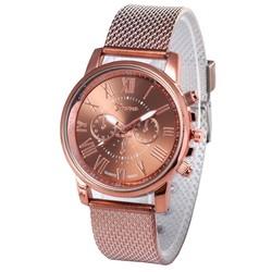 Fako® - Horloge - Geneva - Roman - Mesh Look - Ø 40mm - Bruin