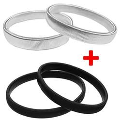 Fako Bijoux® - Set Van 2 paar Mouwophouders Zwart & Zilver - 20cm - Metaal
