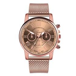 Fako® - Horloge - Geneva - Roman - Mesh Look Rosé - Ø 40mm - Rosé