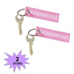 Fako Bijoux® - Sleutelhanger - Kiss Me Before Flight - Mini - Roze - 2 Stuks