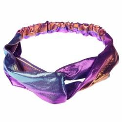 Fako Fashion® - Metallic Cross Haarband - Hoofdband - Polyester - Blauw/Paars
