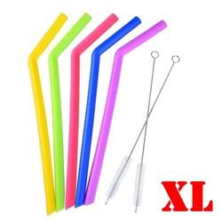 Fako Bijoux® - Siliconen Rietjes XL -  5 Stuks Gebogen - 25cm - 11mm - 2 Schoonmaakborstels