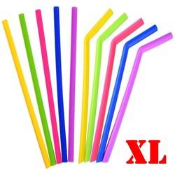 Fako Bijoux® - Siliconen Rietjes XL -  10 Stuks - Recht &  Gebogen - 25cm - 11mm - 2 Schoonmaakborstels