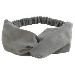 Fako Fashion® - Suède Cross Haarband - Hoofdband - Velours Suède - Grijs