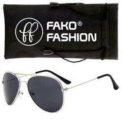 Fako Fashion® - Kinder Pilotenbril - Aviator Zonnebril - Zilver - Zwart