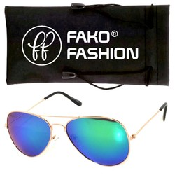 Fako Fashion® - Kinder Pilotenbril - Aviator Zonnebril - Goud - Blauw/Groen