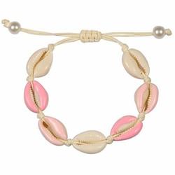 Fako Bijoux® - Schelpjes Armband - Wit - 4x Roze