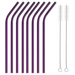 Fako Bijoux® - RVS Rietjes - 8 Stuks - Gebogen - 21 cm - 2 Schoonmaakborsteltjes - Paars